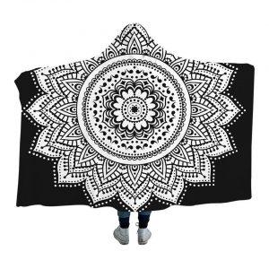 Black Mandala Hoodie Blanket
