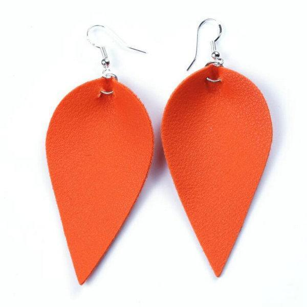 Solid Faux Leather Leaf Earring