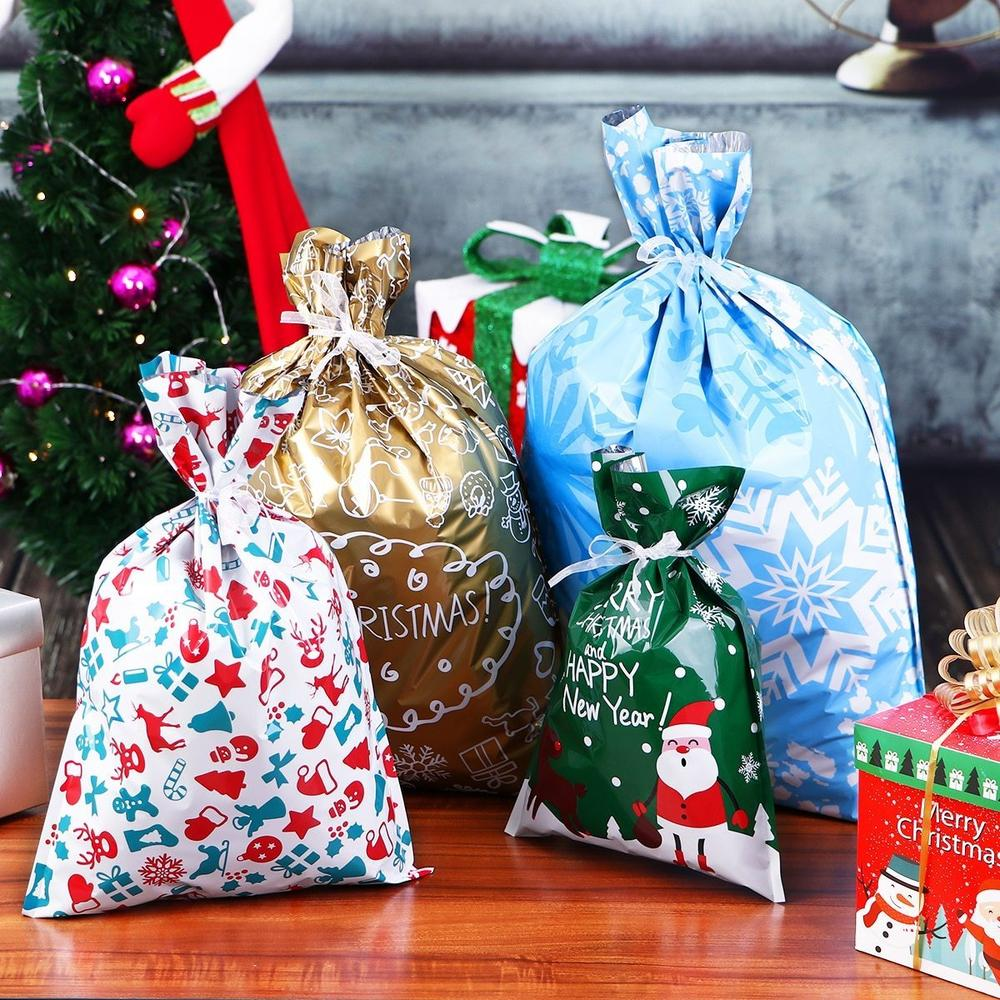 drawstring christmas gift bags 30 piece set milky spoon drawstring christmas gift bags 30 piece set